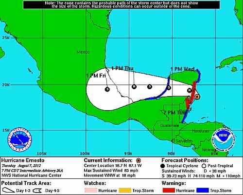 Hurricane Ernesto 8/7/12