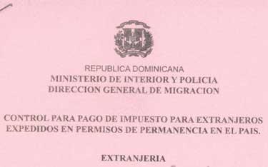 Control Para Pago de Impuesto Para Extranjeros Expedidos en Permisos de permanencia en el Pais