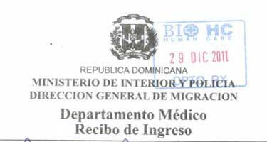 Departmento Medico Recibo de Ingreso